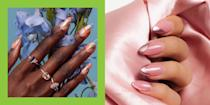 """<p>If there's one nail colour that has yet to go out of style it's rose gold. We still can't get enough of that pinky metallic, but if you thought you'd experimented with every shade of rosé, think again... </p><p>Yes, we are still talking about nails... we haven't moved onto Whispering Angel just yet.</p><p>We've trawled Instagram to bring you a round up of the very best rose-gold nail designs. Yup, whether you're looking to try a glimmering <a href=""""https://www.cosmopolitan.com/uk/beauty-hair/nails/g10384856/chrome-nails-ideas/"""" rel=""""nofollow noopener"""" target=""""_blank"""" data-ylk=""""slk:chrome effect"""" class=""""link rapid-noclick-resp"""">chrome effect</a>, a flash of <a href=""""https://www.cosmopolitan.com/uk/beauty-hair/nails/g28731150/glitter-nails/"""" rel=""""nofollow noopener"""" target=""""_blank"""" data-ylk=""""slk:glitter"""" class=""""link rapid-noclick-resp"""">glitter</a>, or a high-shine foil finish, these are the looks to try. From natural nails to <a href=""""https://www.cosmopolitan.com/uk/beauty-hair/nails/a27029301/acrylic-nails/"""" rel=""""nofollow noopener"""" target=""""_blank"""" data-ylk=""""slk:acrylics"""" class=""""link rapid-noclick-resp"""">acrylics</a>, every shape and length is covered. </p><p>So if you haven't boarded the rose gold wagon just yet, we're here to inspire you. It might just be that you haven't found the right shade for you, rose gold doesn't always have to be paired with a <a href=""""https://www.cosmopolitan.com/uk/beauty-hair/nails/g28685709/pink-nails/"""" rel=""""nofollow noopener"""" target=""""_blank"""" data-ylk=""""slk:baby pink"""" class=""""link rapid-noclick-resp"""">baby pink</a> after all. If you want something a bit richer, a bit tougher, go for a copper, rusted penny tone. </p><p>Or you could try accents of rose gold. This is one of our personal favourite ways to wear it, as it can really add light to your design. Whether that be abstract shapes, or curved lines, a touch of the pink stuff will really accentuate whatever you put it next to.</p><p>So, whether you're doing a DIY job, or booking in at the"""