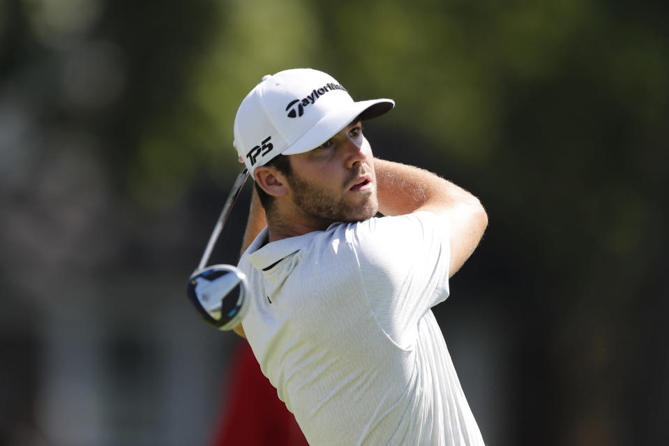 Matthew Wolff drives on the sixth tee during the second round of the Rocket Mortgage Classic golf tournament, Friday, July 3, 2020, at the Detroit Golf Club in Detroit. (AP Photo/Carlos Osorio)