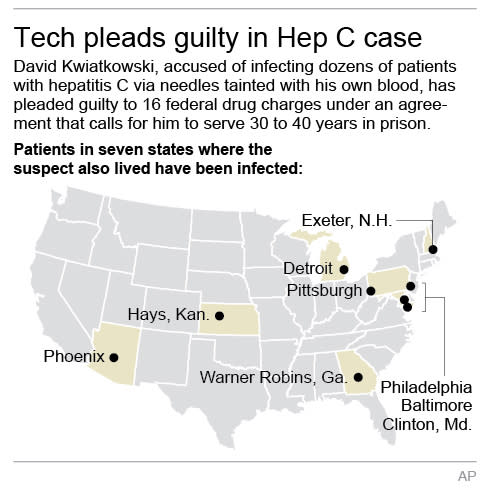 Map shows path of hospital technician who pleaded guilty in Hepatitis C outbreak; 2c x 6 inches; 96.3 mm x 152 mm;