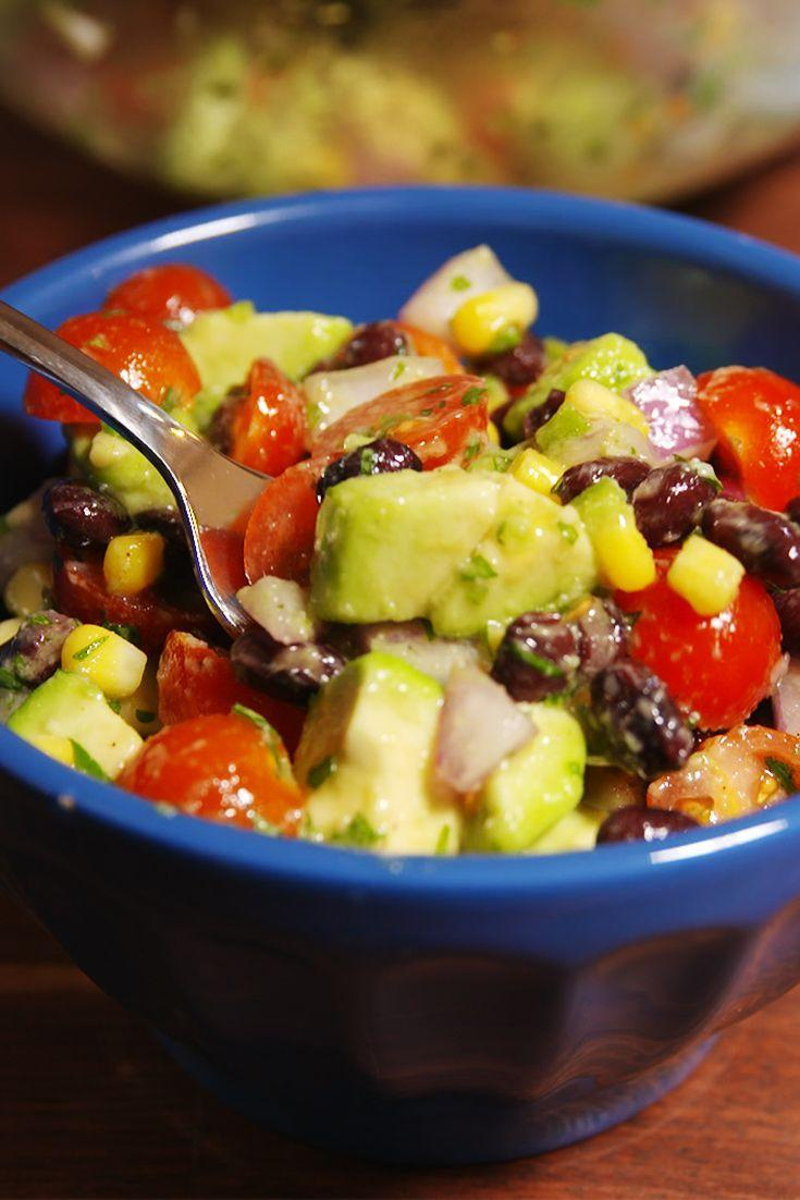 """<p>Turn your favorite dip into a healthy and hearty salad.</p><p>Get the recipe from <a href=""""https://www.delish.com/cooking/recipe-ideas/recipes/a50674/guacamole-salad-recipe/"""" rel=""""nofollow noopener"""" target=""""_blank"""" data-ylk=""""slk:Delish"""" class=""""link rapid-noclick-resp"""">Delish</a>. </p>"""