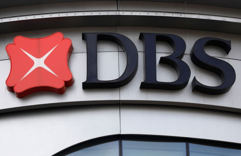 A DBS bank signage is pictured in Singapore