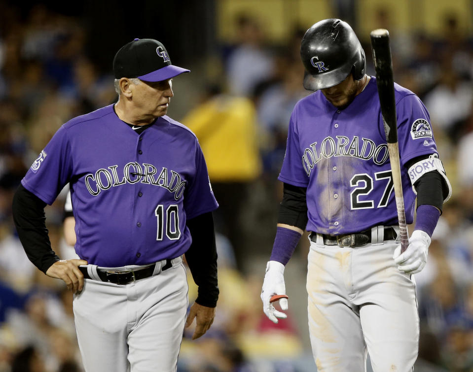 Trevor Story avoided a UCL tear and is expected to return from elbow inflammation within a few days. (AP)