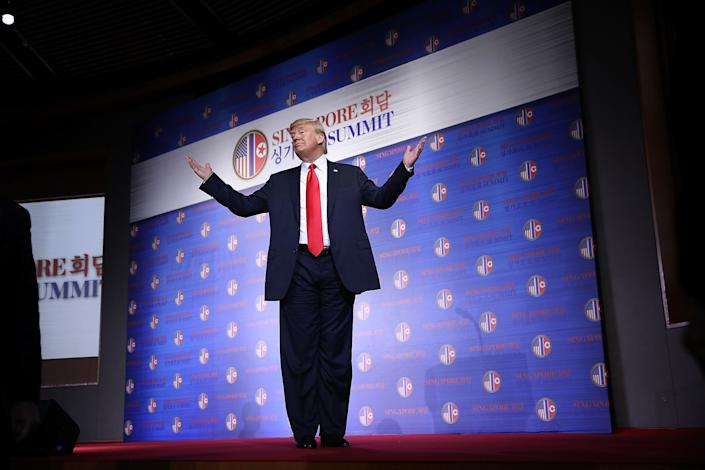 """In anews conference immediately following their meeting, Trump saidKim had agreed to start the process of nuclear disarmament """"right away."""" (Photo: Win McNamee/Getty Images)"""