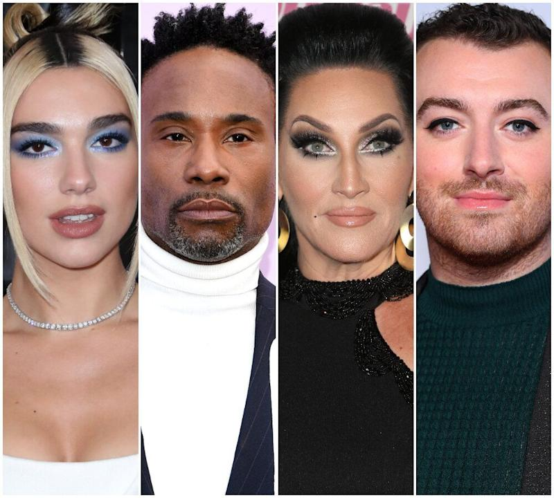 Dua Lipa, Billy Porter, Michelle Visage and Sam Smith are all up for a British LGBT Award (Photo: Rex)