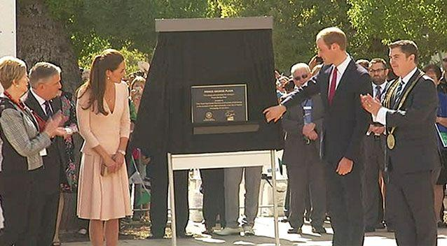 The Duke and Duchess of Cambridge unveil the plaque naming Prince George Plaza at Playford Civic Centre on April 23. Photo: 7News.