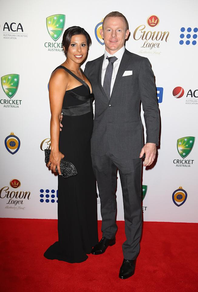SYDNEY, AUSTRALIA - JANUARY 20:  Sandra Benarroch and Chris Rogers arrive at the 2014 Allan Border Medal at Doltone House  on January 20, 2014 in Sydney, Australia.  (Photo by Don Arnold/WireImage)
