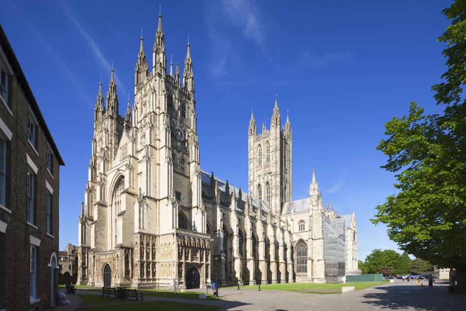 """<p>Head out of London to Kent today and you'll find Caterbury – a cathedral city and UNESCO World Heritage Site. </p><p>If you're into your history and architecture, make sure to walk around the city to see the 6th Century ruins of St Augustine's Abbey, The Beaney House of Art & Knowledge, Westgate Towers (which is one of the main gates to the city and almost 640 years old) and, of course, a wander through the Norman-era cathedral. </p><p>The city also has some adorable cafes like Café St Pierre and Tiny Tim's Tearoom and we suggest booking a table for gin cocktails at <a href=""""http://www.bramleysbar.co.uk/"""" rel=""""nofollow noopener"""" target=""""_blank"""" data-ylk=""""slk:Bramleys Bar"""" class=""""link rapid-noclick-resp"""">Bramleys Bar</a>.</p><p><strong>Distance from London</strong>: 54 miles</p><p><strong>How to get there</strong>: London to Canterbury via <a href=""""https://www.thetrainline.com/book/results?origin=2144c4ddc11461cf9b03af198933e8df&destination=6a979e3745a711f21884c26105203f16&outwardDate=2020-07-16T14%3A00%3A00&outwardDateType=departAfter&journeySearchType=single&passengers%5B%5D=1990-07-16&selectedOutward=ijOXCDrRh14%3D%3A49mpyoA6Yxw%3D"""" rel=""""nofollow noopener"""" target=""""_blank"""" data-ylk=""""slk:train"""" class=""""link rapid-noclick-resp"""">train</a> (1hr 29mins).</p>"""