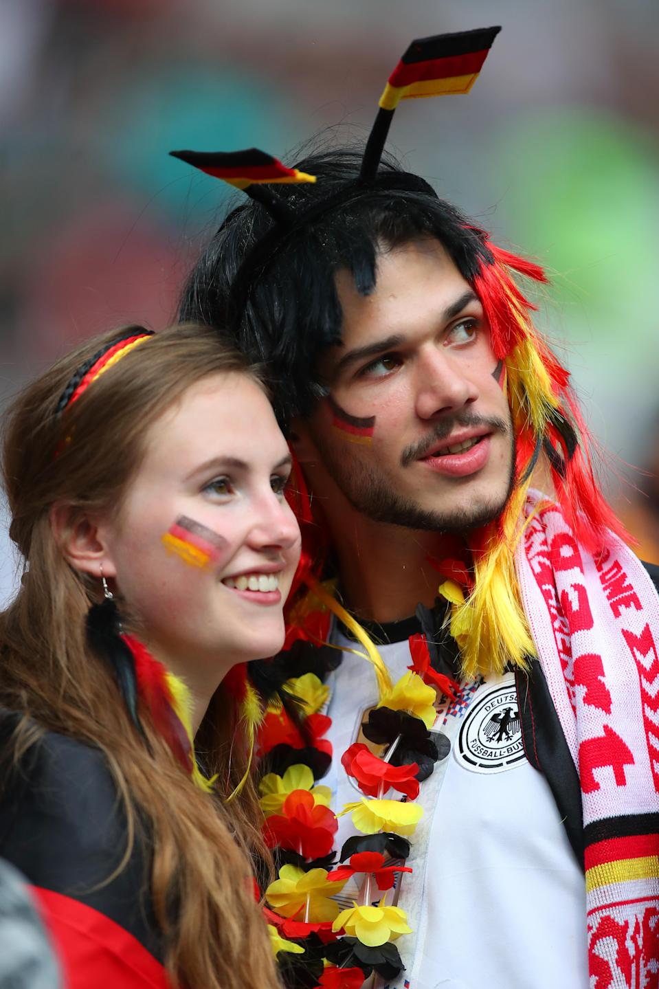 <p>Germany fans show their support prior to the 2018 FIFA World Cup Russia group F match between Germany and Mexico at Luzhniki Stadium on June 17, 2018 in Moscow, Russia. (Photo by Robbie Jay Barratt – AMA/Getty Images) </p>