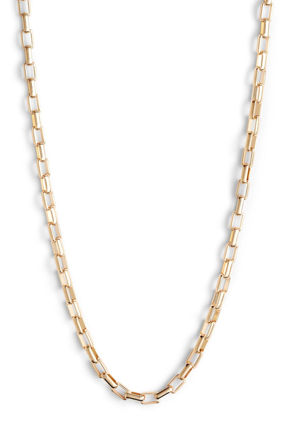 """<p><strong>Nordstrom</strong></p><p>nordstrom.com</p><p><strong>$9.97</strong></p><p><a href=""""https://go.redirectingat.com?id=74968X1596630&url=https%3A%2F%2Fwww.nordstrom.com%2Fs%2Fnordstrom-box-chain-collar-necklace%2F5257171&sref=https%3A%2F%2Fwww.esquire.com%2Fstyle%2Fg36535194%2Fnordstrom-mens-sale-half-yearly-spring-2021%2F"""" rel=""""nofollow noopener"""" target=""""_blank"""" data-ylk=""""slk:Shop Now"""" class=""""link rapid-noclick-resp"""">Shop Now</a></p><p>For necklace newbies, you can't go wrong with a simple gold chain, especially one that's less than $10. </p>"""