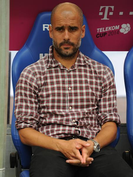 Bayern Munich's head coach Pep Guardiola, pictured ahead of the Telekom Cup final match FC Bayern Munich vs Wolfsburg, in the norhtern German city of Hamburg, on July 27, 2014 (AFP Photo/Carmen Jaspersen)