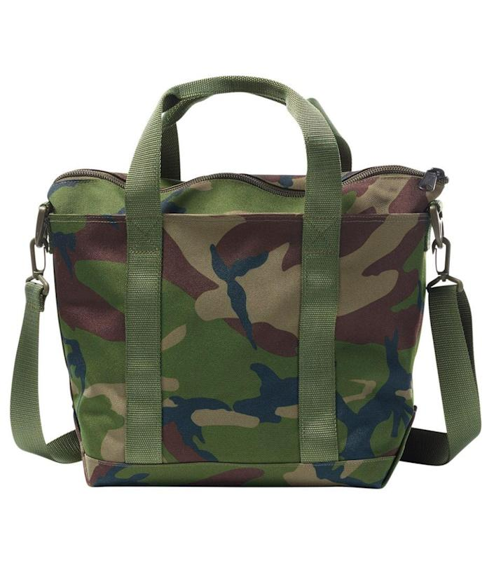 """A classic tote in stylish camo that can be used on a long weekend getaway, a grocery store run, or even just for laundry. $55, L.L. Bean. <a href=""""https://www.llbean.com/llb/shop/120026"""" rel=""""nofollow noopener"""" target=""""_blank"""" data-ylk=""""slk:Get it now!"""" class=""""link rapid-noclick-resp"""">Get it now!</a>"""