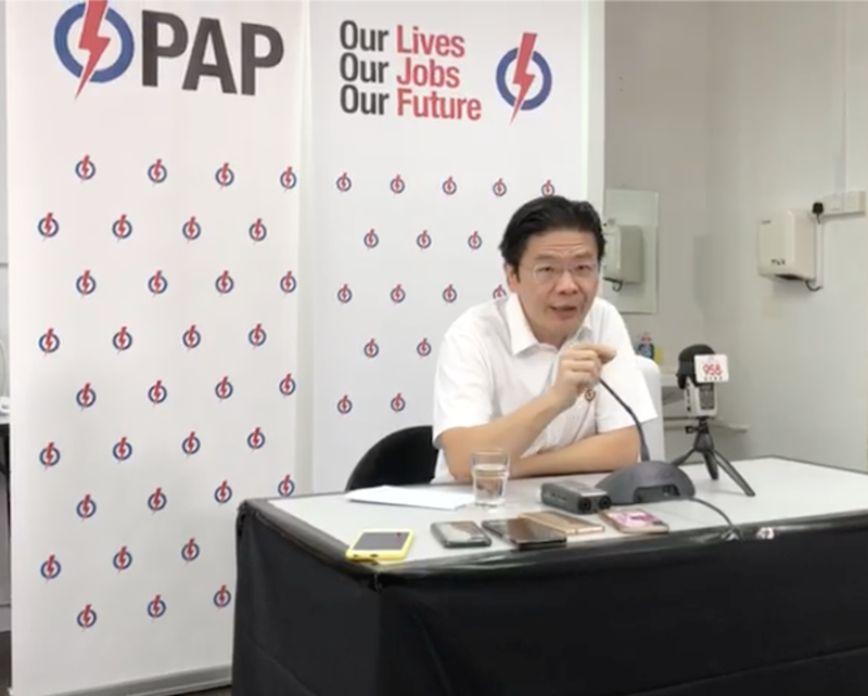 National Development Minister and PAP candidate for Marsiling-Yew Tee Lawrence Wong, addresses reporters on Sunday, 5 July 2020. PHOTO: Nicholas Yong/Yahoo News Singapore