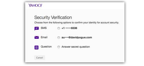 Yahoo Security Verification screen