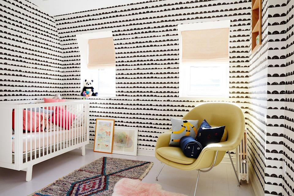 """<p>Tired of vertical stripes? The bumpy lined option that <a href=""""https://grtarchitects.com/"""" rel=""""nofollow noopener"""" target=""""_blank"""" data-ylk=""""slk:GRT Architects"""" class=""""link rapid-noclick-resp"""">GRT Architects</a> chose for this Fort Greene, Brooklyn, townhouse is a dainty yet stylish alternative.</p><p><em>Half Moon Wallpaper, $99<br></em><a class=""""link rapid-noclick-resp"""" href=""""https://www.fawnandforest.com/collections/wallpaper-decals/products/ferm-living-half-moon-wallpaper?variant=16965098947"""" rel=""""nofollow noopener"""" target=""""_blank"""" data-ylk=""""slk:Shop the Look"""">Shop the Look</a><em><br></em></p>"""