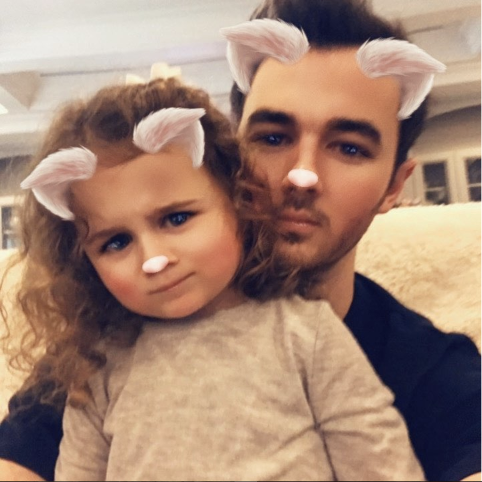 """<p>The <em>Jonas Brothers</em> musician is a <a href=""""http://people.com/babies/kevin-jonas-alena-meets-valentina-first-time/"""" rel=""""nofollow noopener"""" target=""""_blank"""" data-ylk=""""slk:dad to two daughters"""" class=""""link rapid-noclick-resp"""">dad to two daughters</a>, Alena Rose Jonas, 5, and Valentina Angelina Jonas, 2. Kevin and his wife Danielle Deleasa celebrated nine years together in December. He posted a photo from their wedding on <a href=""""https://www.instagram.com/p/Bc4r-SJnmb_/?taken-by=kevinjonas"""" rel=""""nofollow noopener"""" target=""""_blank"""" data-ylk=""""slk:Instagram"""" class=""""link rapid-noclick-resp"""">Instagram</a> celebrating a past anniversary.</p>"""