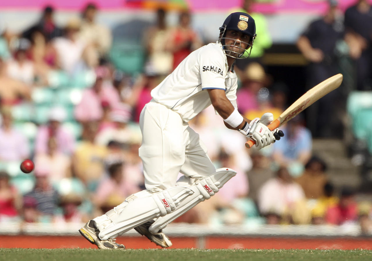 India batsman Gautam Gambhir plays a shot on day 3 of the second test match at the Sydney Cricket Ground in Sydney, Australia, Thursday, Jan. 5, 2012. (AP Photo/Rob Griffith)