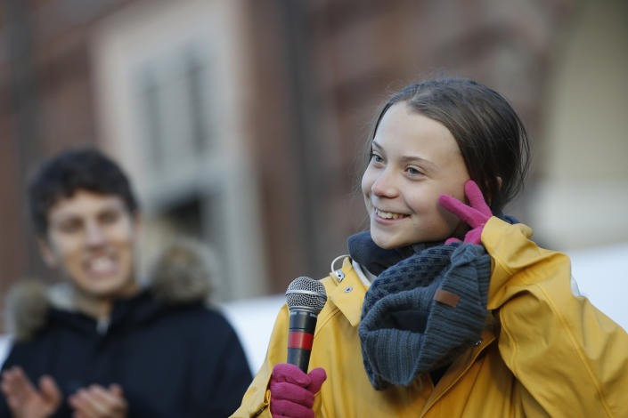 Swedish environmental activist Greta Thunberg attends a climate march, in Turin, Italy, Friday. Dec. 13, 2019. Thunberg was named this week Time's Person of the Year, despite becoming the figurehead of a global youth movement pressing governments for faster action on climate change. in Turin, Italy, Friday, Dec. 13, 2019. (AP Photo/Antonio Calanni)