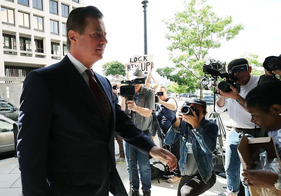 <p>Former Trump campaign manager Paul Manafort arrives at the E. Barrett Prettyman U.S. Courthouse for a hearing on June 15, 2018 in Washington, D.C. (Photo: Mark Wilson/Getty Images) </p>