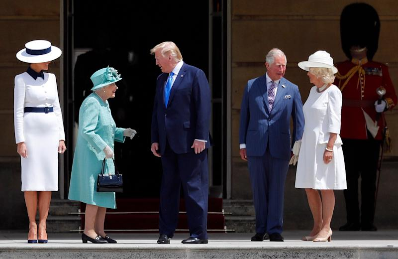 Britain's Queen Elizabeth II greets President Donald Trump, center, and first lady Melania Trump, left, with Britain's Prince Charles and Camilla, Duchess of Cornwall during a ceremonial welcome in the garden of Buckingham Palace in London, Monday, June 3, 2019 on the opening day of a three day state visit to Britain. (Photo: Frank Augstein/AP)