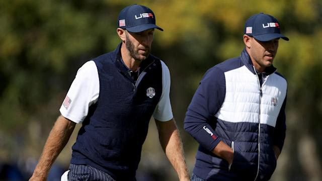 Dustin Johnson and Brooks Koepka reportedly had to be separated in Europe's team room, but Thomas Bjorn did not witness a bust-up.