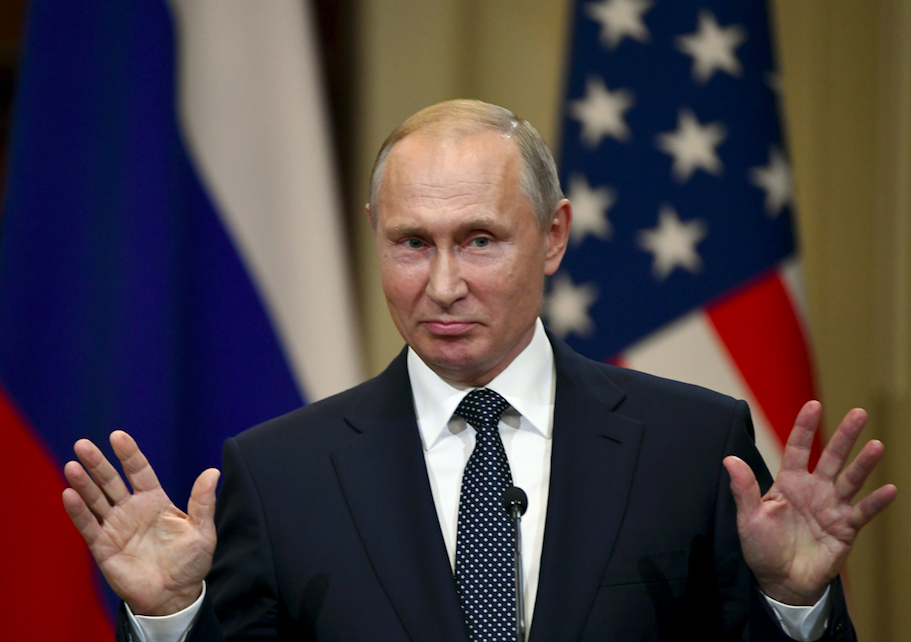 <em>Putin has always denied Russia played any part in the Salisbury nerve agent attack (Rex)</em>
