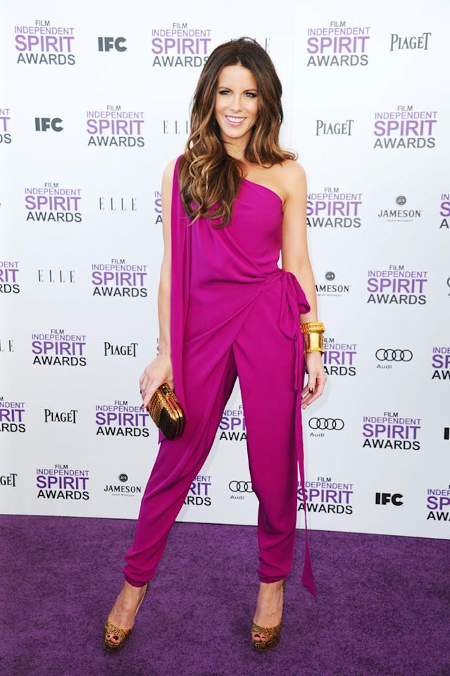 "In years past, the arrivals line at the annual Independent Spirit Awards has been riddled with fashion flubs. This year, however, Yahoo!'s purple carpet was covered with stylish stars. Our favorite fashionista was the always-gorgeous Kate Beckinsale, who channeled her inner disco diva by donning a casual-yet-chic Diane von Furstenberg jumpsuit, Christian Louboutin peep-toes, and gold Lorraine Schwartz bangles.<br><br>Watch the red carpet arrivals <a target=""_blank"" href=""http://movies.yahoo.com/oscars/videos/2012-independent-spirit-awards-red-carpet-28426344.html"">here</a>!<br><br><a target=""_blank"" href=""http://bit.ly/lifeontheMlist"">Follow Matt Whitfield on Twitter!</a>"