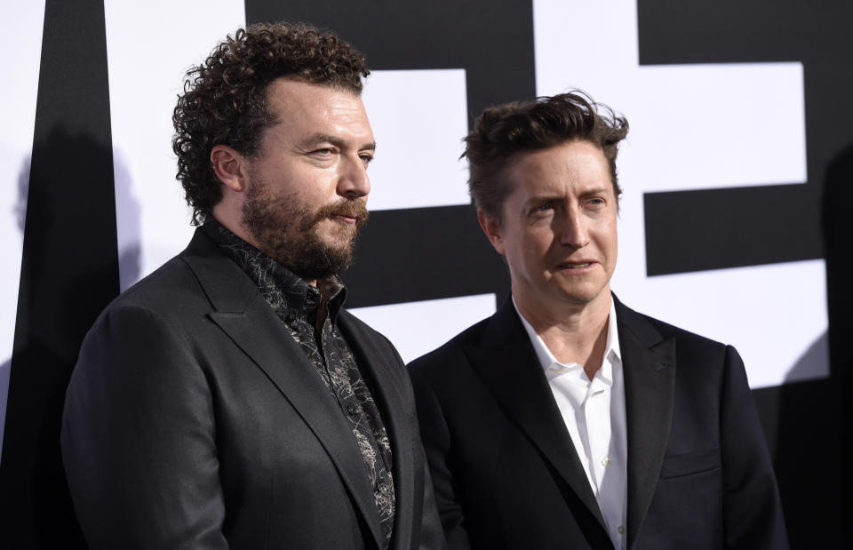"""Danny McBride, left, the co-writer/executive producer of """"Halloween,"""" and director/co-writer/executive producer David Gordon Green pose together at the premiere of the film at the TCL Chinese Theatre, Wednesday, Oct. 17, 2018, in Los Angeles. (Photo by Chris Pizzello/Invision/AP)"""