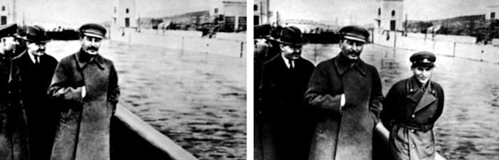 Like Hitler, Russian dictator Josef Stalin had a commissar removed from the original photograph after a falling out.