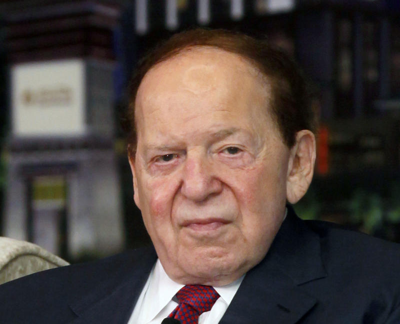 "FILE - In this April 12, 2012 file photo, Las Vegas Sands Chairman and CEO Sheldon Adelson speaks at a news conference for the Sands Cotai Central in Macau. Casino giant Las Vegas Sands Corp. picked Madrid over Barcelona for a multi-billion dollar Spainish gambling resort project dubbed ""EuroVegas.""  The Spanish capital, the country's largest city, emerged as the company's best choice for the development, Las Vegas Sands Chairman and CEO Sheldon Adelson said in a statement released late Friday, Sept. 7, 2012 in Las Vegas.  (AP Photo/Kin Cheung, File)"
