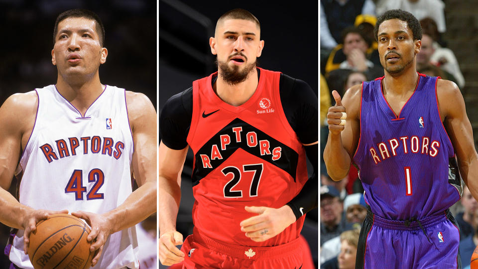 Alex Len will join one-time Raptors legends like Rod Strickland (right) and