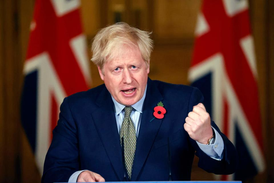 Britain's Prime Minister Boris Johnson speaks during a virtual press conference on the coronavirus pandemic in the UK inside 10 Downing Street in central London on November 9, 2020. (Photo by Tolga Akmen / POOL / AFP) (Photo by TOLGA AKMEN/POOL/AFP via Getty Images)