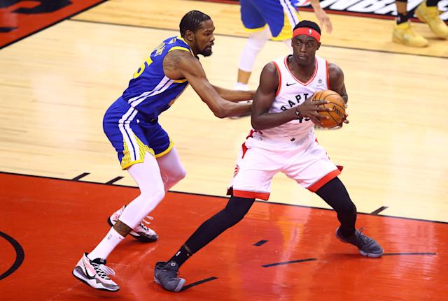 Pascal Siakam #43 of the Toronto Raptors is defended by Kevin Durant #35 of the Golden State Warriors in the first half during Game Five of the 2019 NBA Finals at Scotiabank Arena on June 10, 2019 in Toronto, Canada. (Photo by Vaughn Ridley/Getty Images)