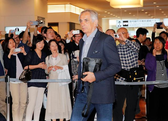Former Japan's national soccer team head coach Vahid Halilhodzic arrives at Haneda airport in Tokyo, Japan, in this photo taken by Kyodo April 21, 2018. Mandatory credit Kyodo/via REUTERS ATTENTION EDITORS - THIS IMAGE WAS PROVIDED BY A THIRD PARTY. MANDATORY CREDIT. JAPAN OUT. NO COMMERCIAL OR EDITORIAL SALES IN JAPAN.
