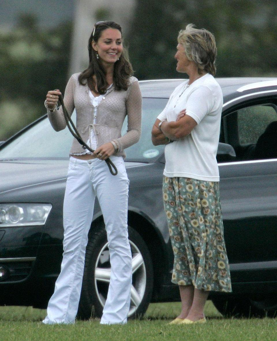 <p>Speaking with journalist Claire Tomlinson while watching Prince Harry and Prince William play in a charity polo match at the Beaufort Polo Club in Tetbury, England. </p>