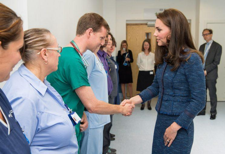 <i>The Duchess of Cambridge surprised staff and patients at King's College Hospital [Photo: PA]</i>
