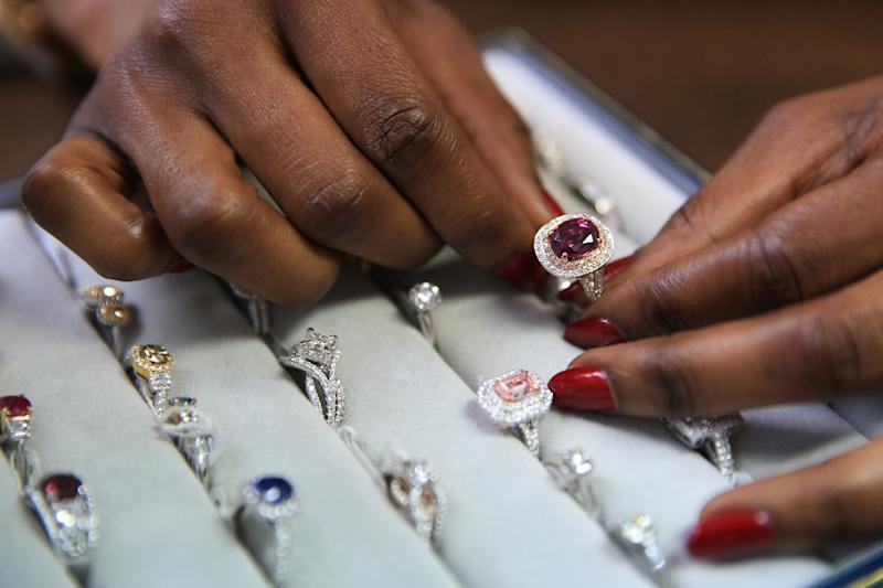 Nigerian Thelma West is a rare gem in the diamond world as a woman in a male-dominated sector with few Africans, despite the continent being the main source of the precious rocks (AFP Photo/Daniel Leal-Olivas)