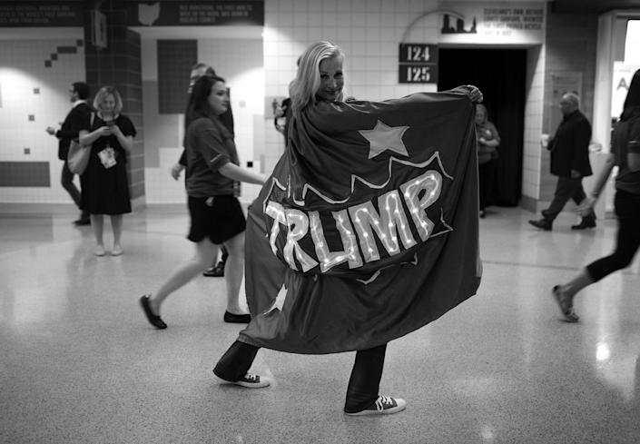 <p>Mary Susan Rehrer, state delegate from Minnesota during the RNC Convention in Cleveland, OH on July 19, 2016. A friend made her cape after Rehrer had a dream. (Photo: Khue Bui for Yahoo News)</p>