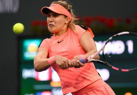 Mar 7, 2018; Indian Wells, CA, Eugenie Bouchard (CAN) in her first round match against Sachia Vickery (not pictured) at the BNP Paribas Open at the Indian Wells Tennis Garden. Jayne Kamin-Oncea-USA TODAY Sports