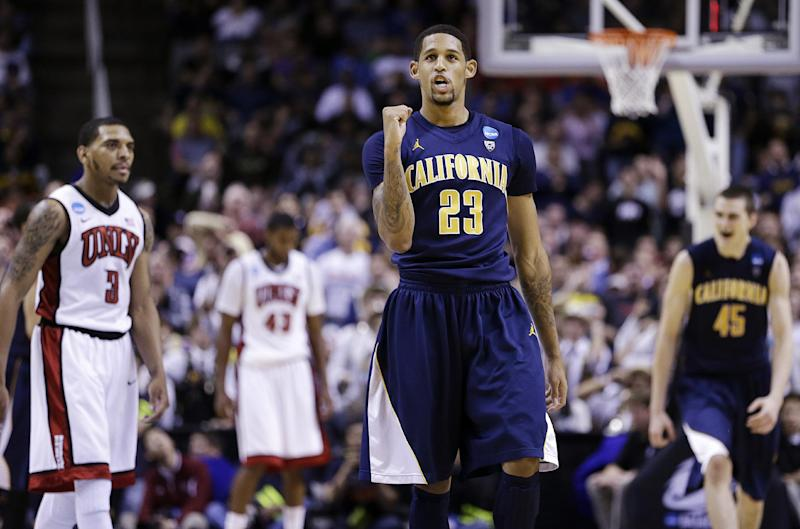 California guard Allen Crabbe (23) celebrates during the second half of a second-round game in the NCAA college basketball tournament against UNLV in San Jose, Calif., Thursday, March 21, 2013. California won 64-61. (AP Photo/Ben Margot)