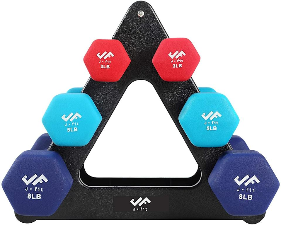 "<p>""I currently use eight-pound weights when I exercise at home, but I like having lighter ones for different workout needs. This <span>JFIT Dumbbell Sets</span> ($56) set was the best option I could find with these specific options."" - KJ</p>"