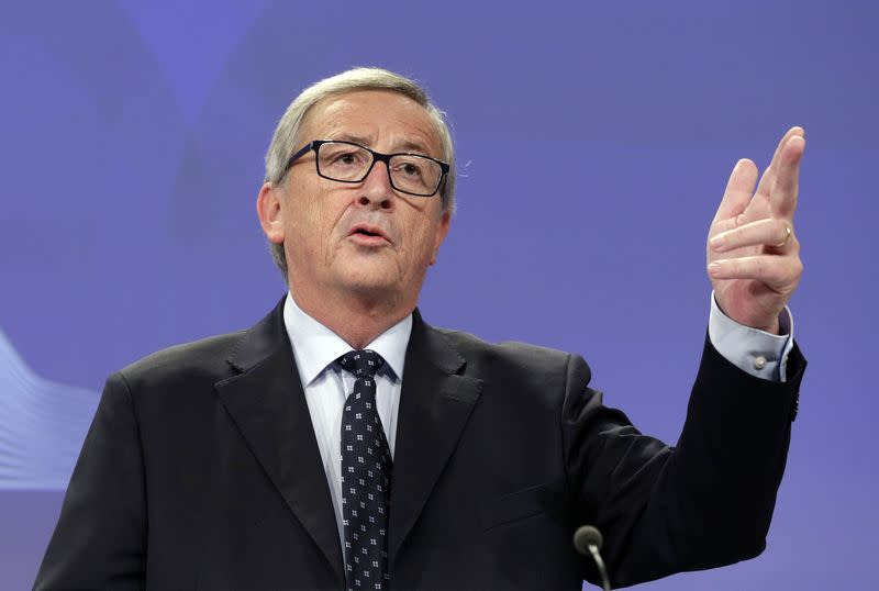 European Commission President Juncker addresses a news conference at the European Commission headquarters in Brussels