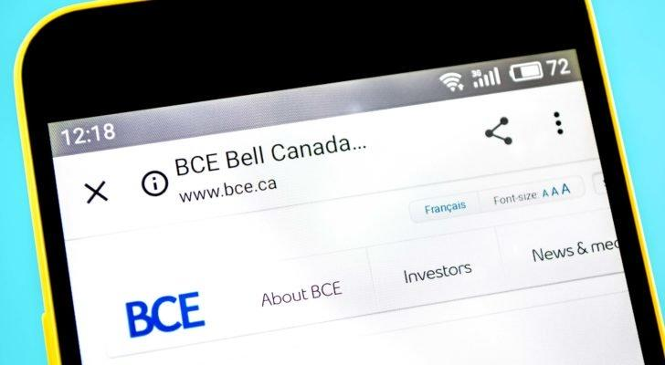 A mobile phone displaying the BCE homepage on its screen