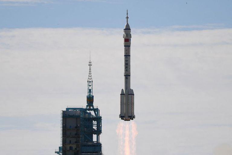 new Tiangong space station after blasting off from the Gobi desert.(GREG BAKER / AFP)