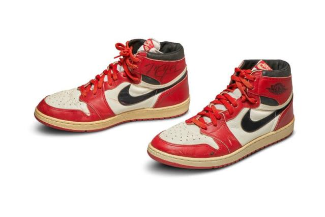A pair of 1985 Nike Air Jordan 1s, made for and worn by U.S. basketball player Michael Jordan