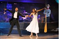 <p>What happens when <em>Dancing with the Stars </em>does prom night? Inspo-worthy fashion. Contestant Zendaya deserved a corsage for the sweet empire waist white chiffon dress she wore for the episode. </p>