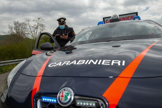 Carabinieri of the Radio Mobile Department during the checkpoint on the Salaria, with the support of the helicopter of the 16th Group in Rieti, Italy, on April 27, 2021. They carried out territorial checks with the use of a helicopter and the Carabinieri's Mobile Radio Unit on the city's main junctions. Such as the SS4 (Salaria) in the direction of Rome. (Photo by Riccardo Fabi/NurPhoto via Getty Images) (Photo: NurPhoto via Getty Images)