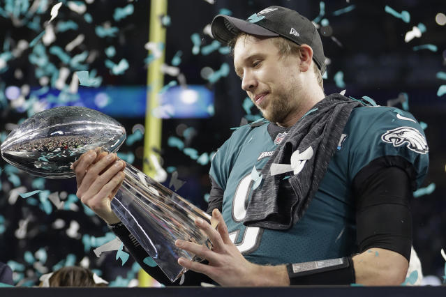 Nick Foles with the Lombardi Trophy after the Eagles' Super Bowl win in February. (AP)