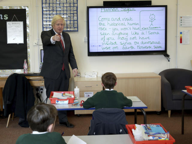 Boris Johnson, here during a visit to a primary school last Friday, said there is racism in Britain. (Steve Parsons/Pool via AP)