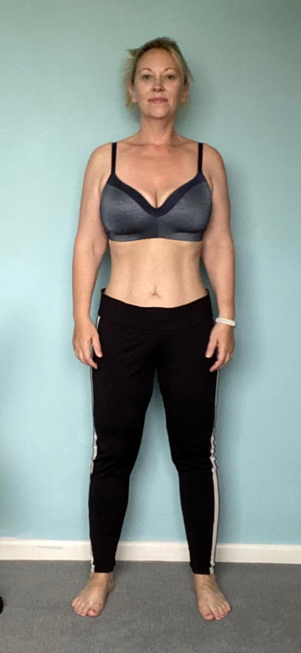 The 42-year-old wanted to be a good role model for her son and has since shed an impressive 5st 12lbs since October last year. (Caters)