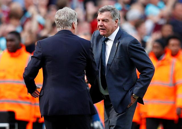 "Soccer Football - Premier League - West Ham United vs Everton - London Stadium, London, Britain - May 13, 2018 Everton manager Sam Allardyce and West Ham United manager David Moyes shake hands after the match REUTERS/Eddie Keogh EDITORIAL USE ONLY. No use with unauthorized audio, video, data, fixture lists, club/league logos or ""live"" services. Online in-match use limited to 75 images, no video emulation. No use in betting, games or single club/league/player publications. Please contact your account representative for further details."
